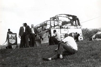 Photograph of the Freedom Rider Bus that was headed to Alabama. Photo source- Alabama Department of Archives and History