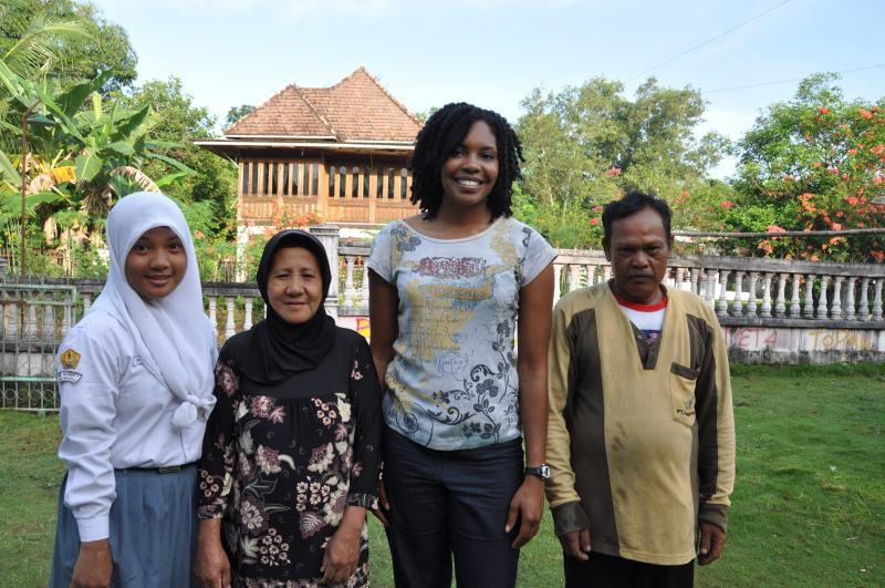 Part of my host family. From L to R: Deta, the mother, me, and the father.